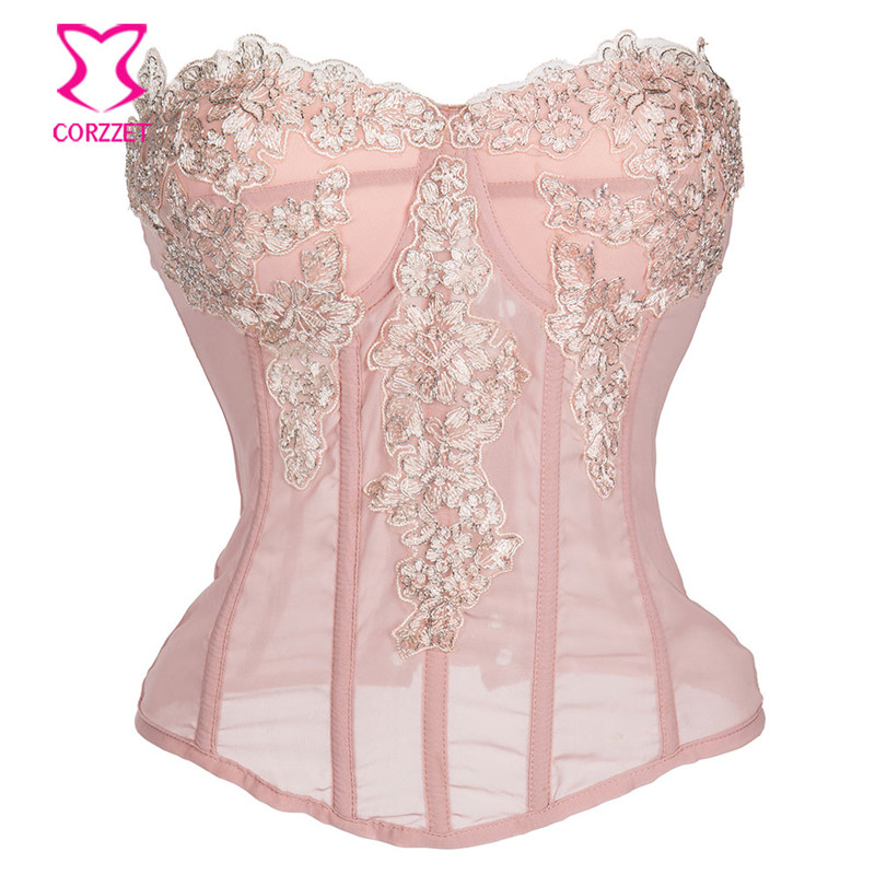 Pink Chiffon Floral Appliques Victorian   Corsets   And   Bustiers   Push Up Sexy Lingerie   Corset   Gothic Corselete Feminino Espartilhos