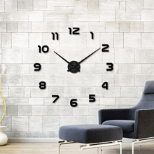New Wall Clock DIY Acrylic Mirror Stickers Silent Movement Big Watch Long Pointer Home Decor Living Room