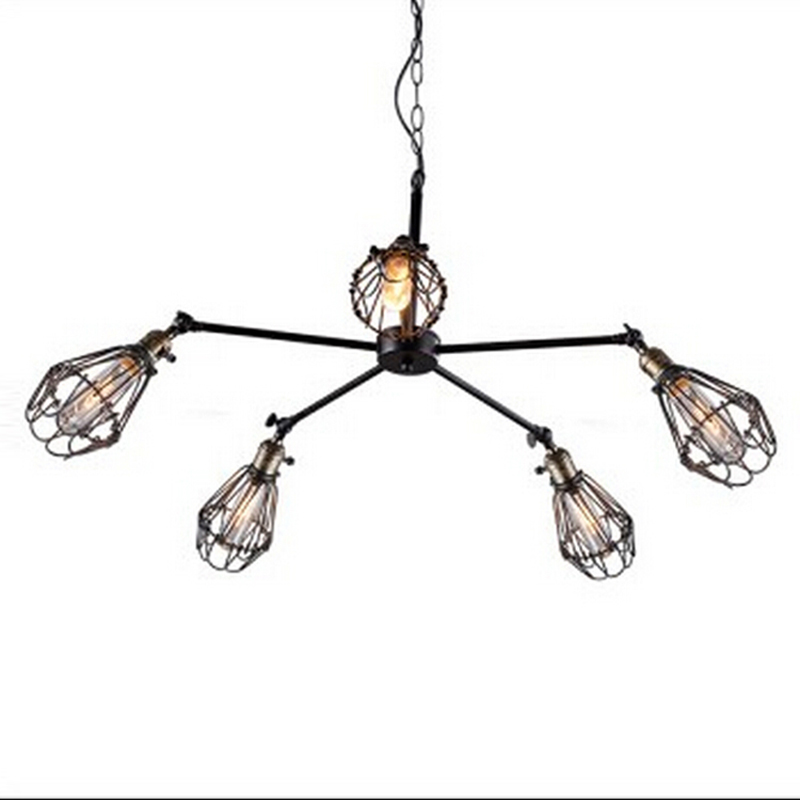 5 head iron cage adjustable pendant lamp for Kitchen Lights Cabinet Living/dining room/parlor bar Bedroom cafe Pendant Light a1 master bedroom living room lamp crystal pendant lights dining room lamp european style dual use fashion pendant lamps