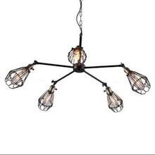 5 cabeza de hierro jaula colgante ajustable de la lámpara de Luces De La Cocina Del Gabinete Sala de Estar/comedor/salón Dormitorio bar cafe colgante de Luz