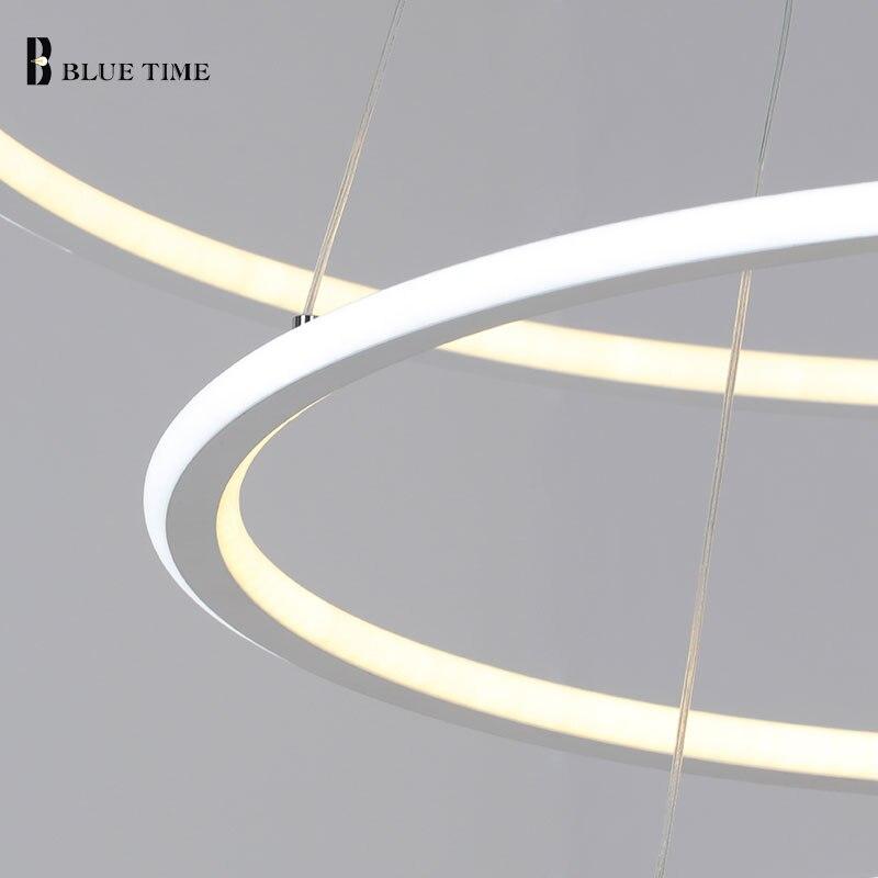 Nuevo moderno 3 anillos de círculo LED luces colgantes para sala de estar comedor LED Lustre lámpara colgante techo luminaria - 5