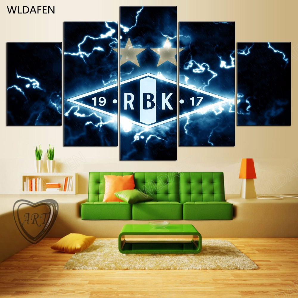 5 Pieces Sports Team Deco Fans Posters Oil Painting On Canvas Modern Home Pictures Prints Decor Living Room PH4-1733