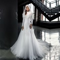 Fashion New Arabic High Neck Lace Long Sleeve Muslim Wedding Dresses 2017 Vestido De Novia Bridal Gowns robe de mariage
