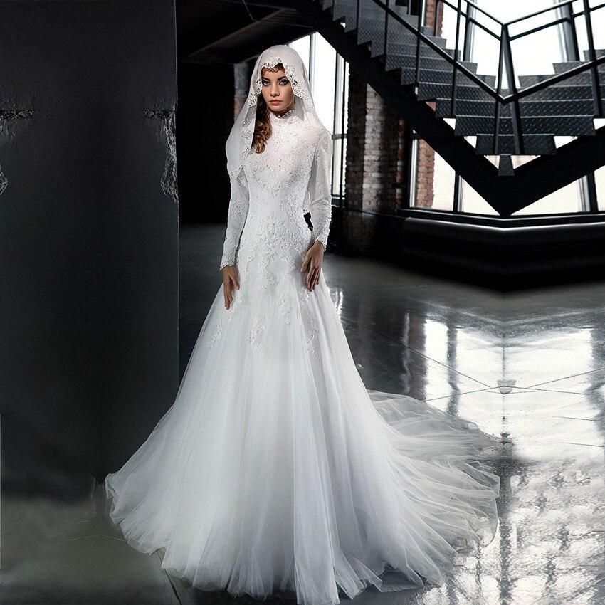 Popular Long Sleeve Muslim Wedding Dress-Buy Cheap Long