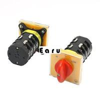 Factory supplied 2Pcs 500V 25A 4 Pole 3 Position Square Panel Universal Rotary Changeover Switch