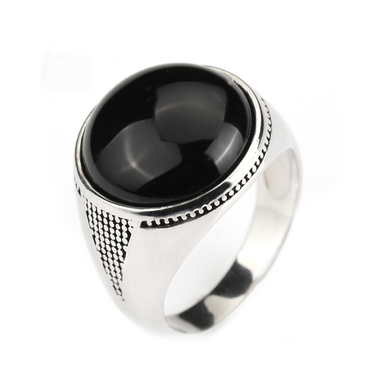 popular 925 sterling silver mens rings with black stones buy cheap