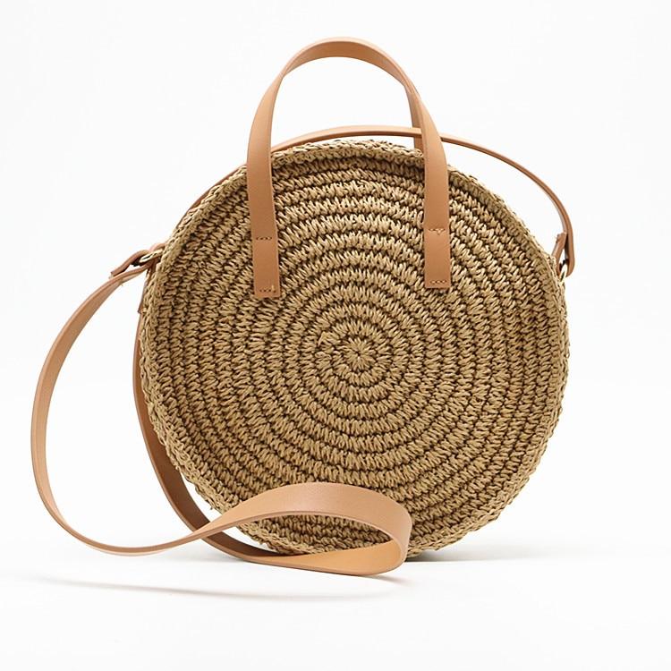 women straw handbag Bamboo Circular bag Ladies Handmade Woven Straw Beach Bag Summer Women 39 s Purse crossbody bags for women in Shoulder Bags from Luggage amp Bags
