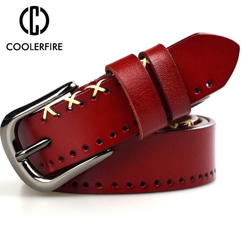 Fashion Desgin New Vintage Style Women Belts Cow Leather High Quality Alloy Pin Buckle Weaving Grain Belt For Women  LB032
