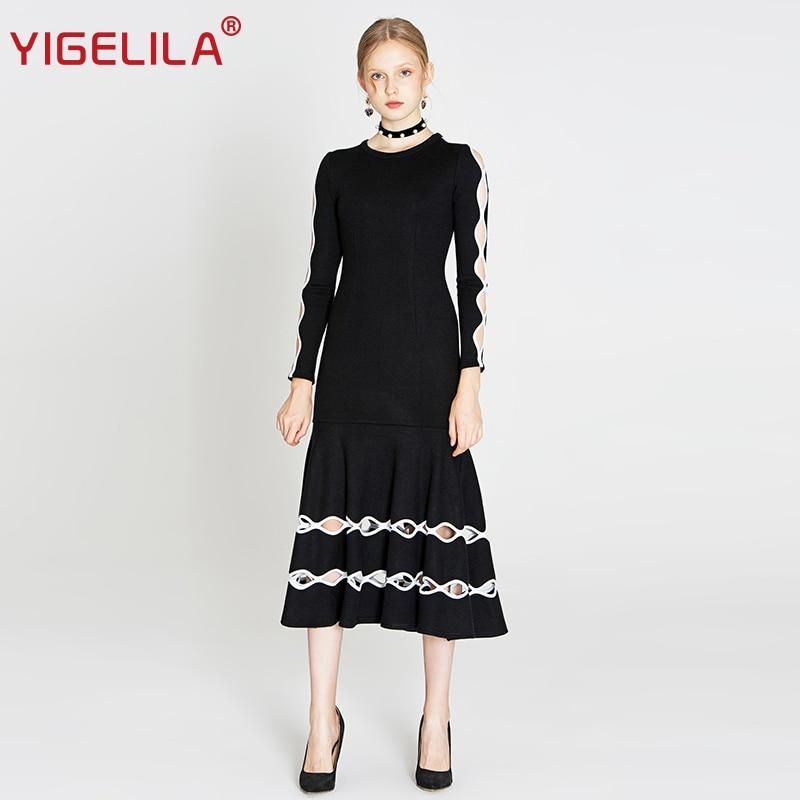 YIGELILA 2019 dernières printemps femmes haute rue mode o cou manches régulières évider solide longue Vintage tricoté robe 64285-in Blouses & Chemises from Mode Femme et Accessoires    1