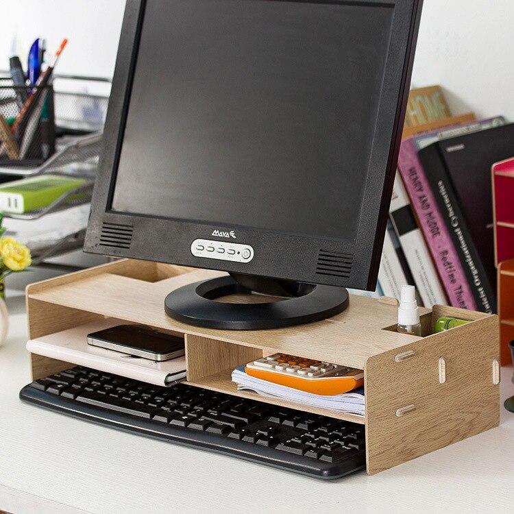 Настольный монитор стенд, деревянный монитор стояка ТВ стенд, для домашнего офиса и мест ...
