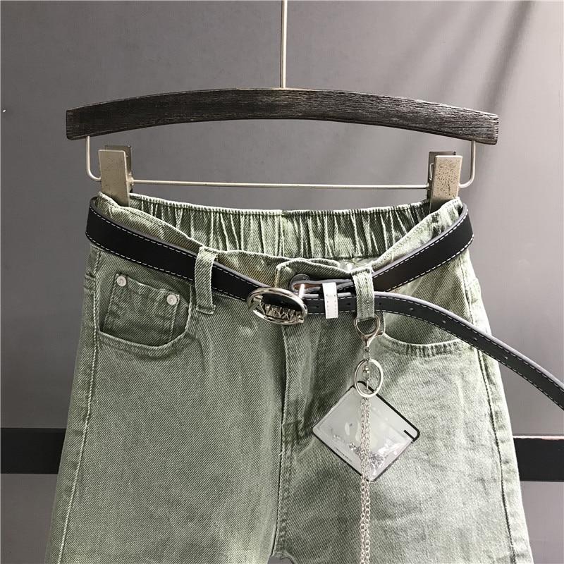 2019 frühling Mode Harem Jeans Frauen Hohe Taille Hosen Weibliche Casual Gewaschen Denim Elastische Jeans Stretch Schärpen Hosen K463-in Jeans aus Damenbekleidung bei  Gruppe 3