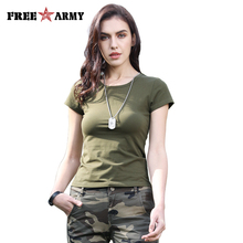 FreeArmy Brand Summer Solid T-Shirt Women Army Green Cotton Breathable Sport Short Sleeve Female O-Neck Leisure Tops Tee Girls