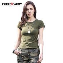 FreeArmy Brand Summer Solid T-Shirt Women Army Green Cotton Breathable Sport Short Sleeve Female O-Neck Leisure Tops Tee Girls недорого