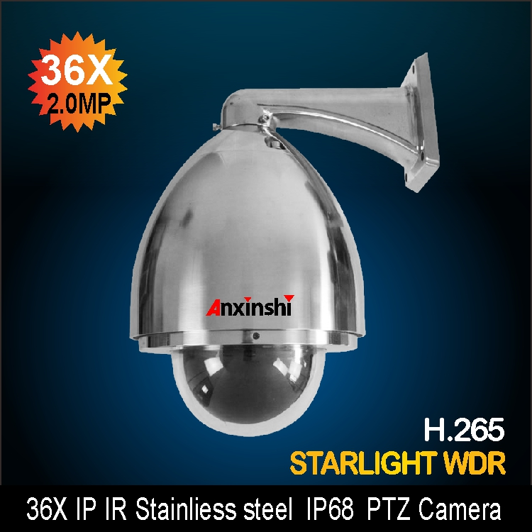 H.265 2MP Explosion proof PTZ IP Camera Stainless Steel PTZ Camera 1080P 36X zoom  CorrosionProof IP PTZ Camera cctv security explosion proof stainless steel general bracket