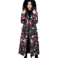 2017European And American Style Winter Women X Long Thicken Jacket Parkas Hooded Fur Collar Female Camouflage
