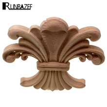 RUNBAZEF Floral Carved Decal Woodcarving Corner Applique Wooden Decor Wall Door Furniture Home Decoration Accessories Ornaments(China)