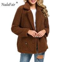 Nadafair Faux Fur Coat Women Turn Down Lambswool Double Breasted Teddy Coat Plus Size Shaggy Autumn Winter Women Cardigan Coat