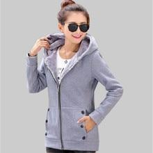2016 Autumn Winter Women Hoodies Cotton Zip-up zipper Solid Full-Sleeve Hooded Casual Sweatshirts Plus Size S-4XL.WH0210