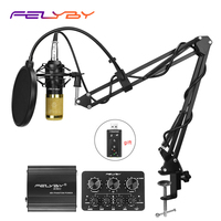 FELYBY High quality without noise professional bm800 3.5 xlr recording condenser microphone for computer Live sound card karaoke