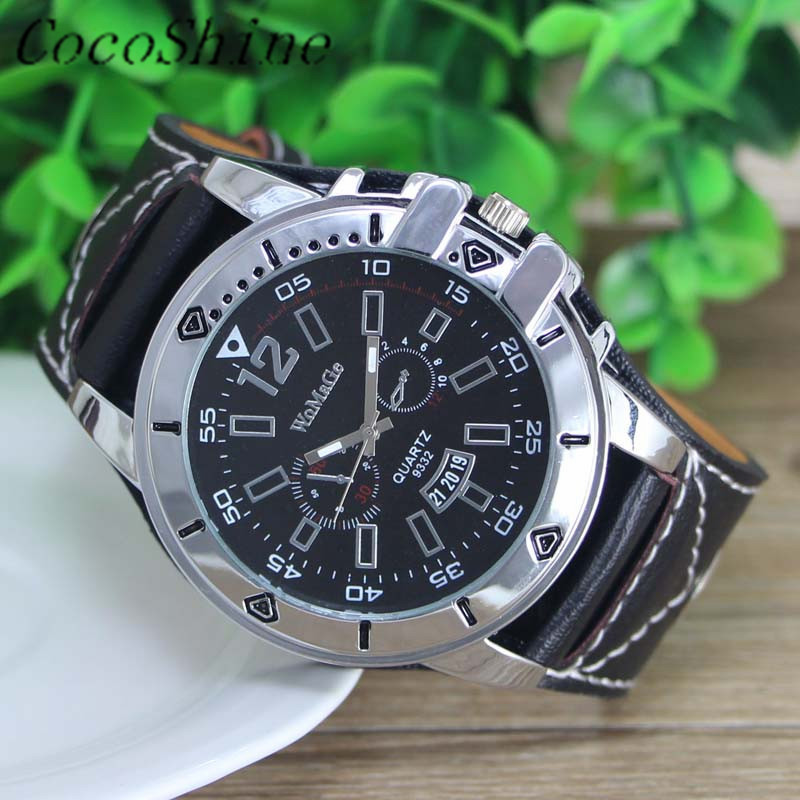 CocoShine A 787 Luxury Men Watch Quartz Steel Dial Analog Sport Luxury Leather Band Watch wholesale