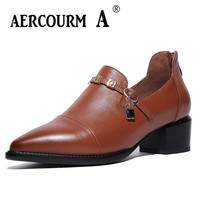 Aercourm A Woman Genuine Leather Shoes Women Brown Pumps 2018 Spring High Heels Shoes Square Head