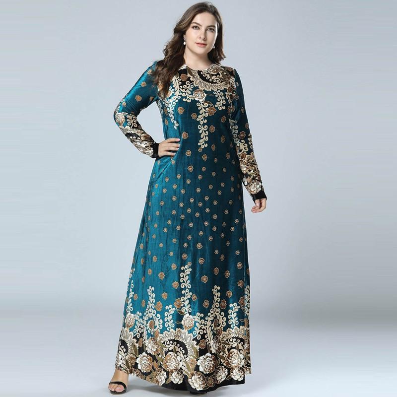 New Winter Velvet Maxi Long Dresses Elegant Gold Stamping Floral Printing Muslim Dress BLUE PINK GREEN M - 4XL