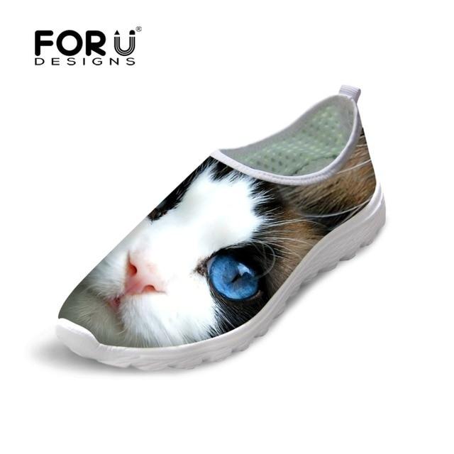 Cute Animal Cat Print Women Mesh Shoes Brand Women Mesh Walking Shoes Breathable Female Girls Trainer Flat Shoe Zapatillas Mujer