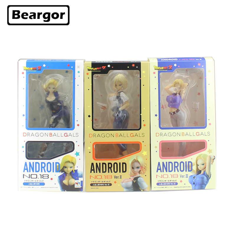 "7-8 ""Garotas De Dragon Ball Z Android NO.19 18 Jeans ver. EU ver. II ver. III Encaixotado 18-20 centímetros PVC Anime Action Figure Modelo Boneca Brinquedos de Presente"