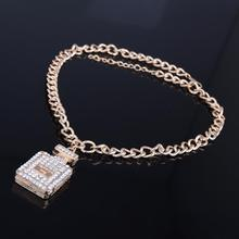 Charm Europe Style Gold Color Crystal  Elegant Perfume Bottle Pendant Necklaces For Women Chunky Chain Jewelry Accessories