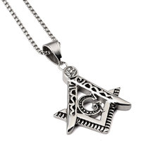 Stainless Steel Crystal Free Mason Masonic Pendant Necklace For Men Fashion Hip Hop Jewelry Wholesale And