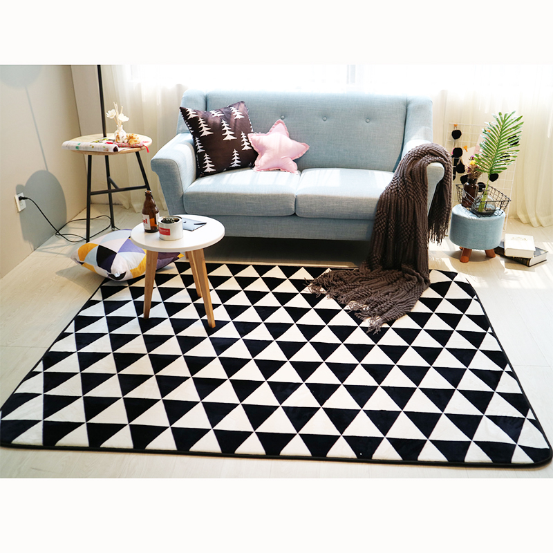 Fashion Black White Geometric Triangular Trees Living Room ...