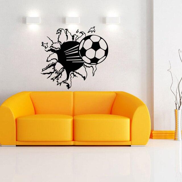 3D Cartoon Soccer Ball Football Vinyl Wall Stickers for Kids Sport ...