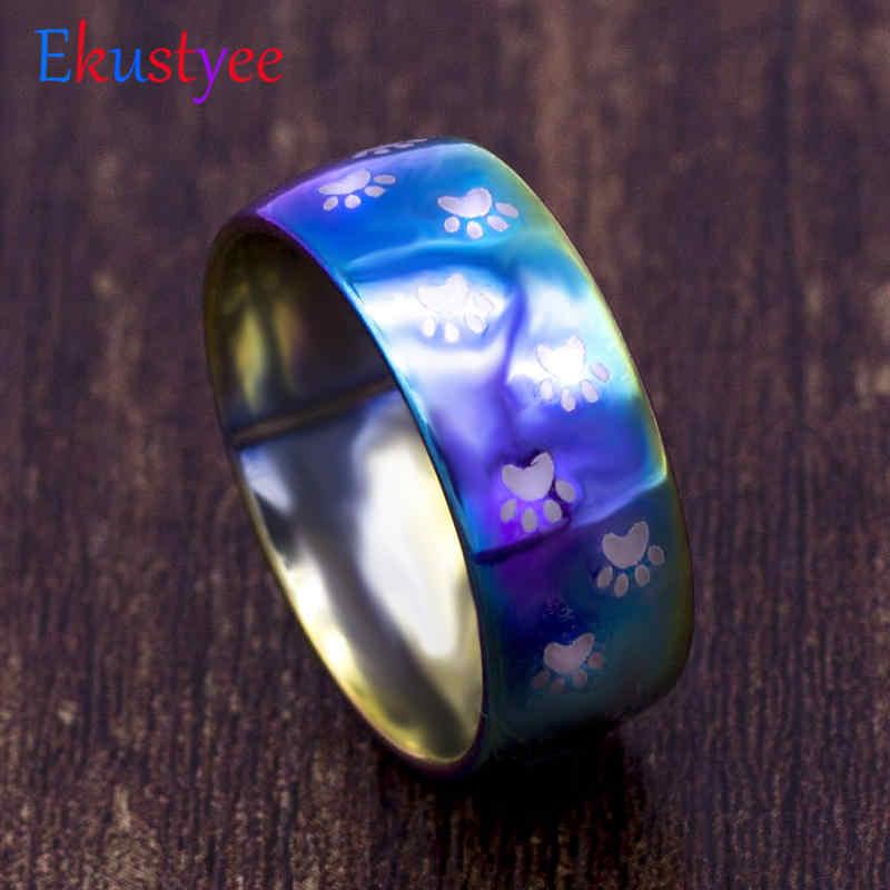 2019 moda lindo anillo de acero inoxidable joyería mascota gato garra perro palmera perros huellas Arco Iris anillo para regalo