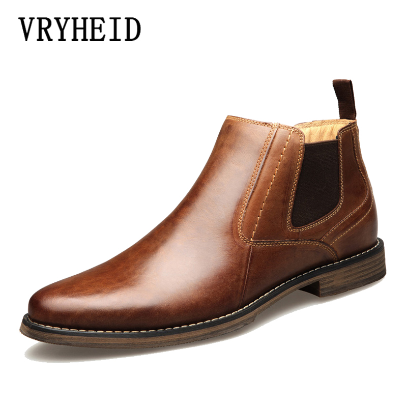 VRYHEID Genuine Leather Men Boots Vintage Style High Cut Formal dress Shoes Men Fashion Casual chelsea boots High Boots Big Size