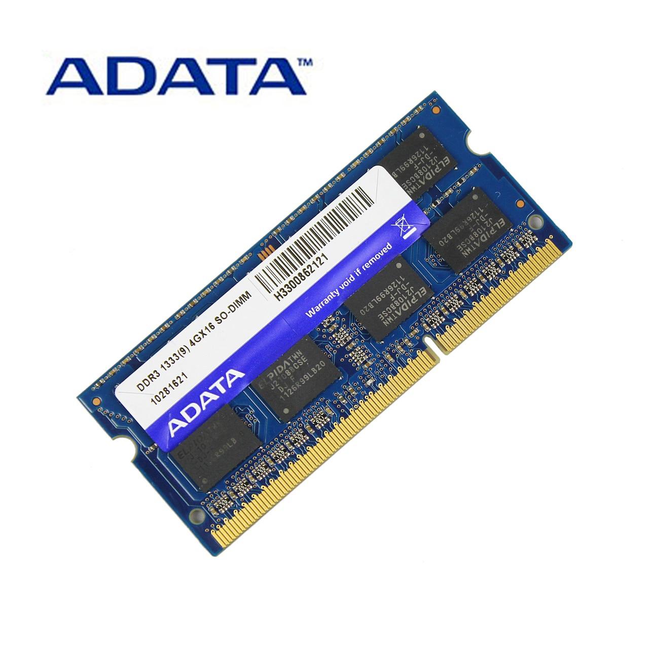 ADATA DDR3 1.5 v 2 gb 4 gb 8 gb 1333 mhz Ram Mémoire SO-DIMM 204 Broches PC3-10600 Pour Lenovo thinkPad SONY Acer SAMSUNG HP Ordinateur Portable Béliers