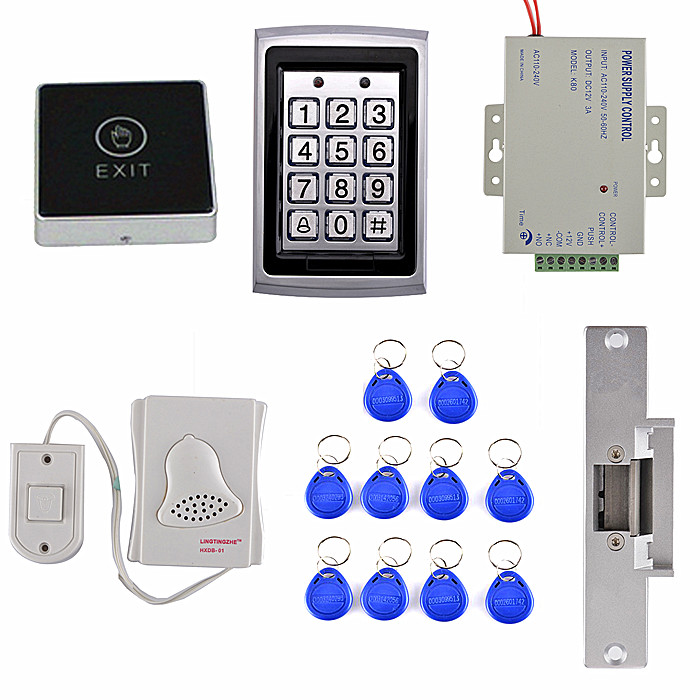 цены ID Card Door Access Control Kit +Door Bell +Electric Strike Door Lock +Touch Door Switch Button