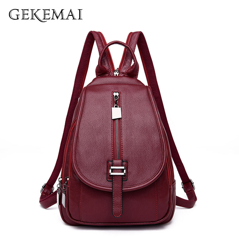 Fashion Women Leather Backpack Female School Solid Travel Bagpack Sac A Dos High Quality Backpacks Female Belts Back Pack LadiesFashion Women Leather Backpack Female School Solid Travel Bagpack Sac A Dos High Quality Backpacks Female Belts Back Pack Ladies