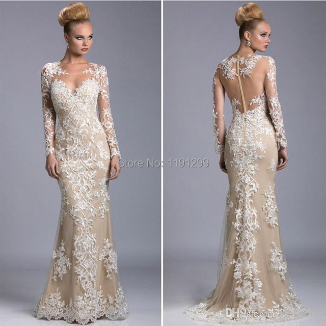 bfda9477f6bf1 Sheer Evening Dress Embroidery Special See through Back Pageant Dresses  Champagne Cream Lace Long Sleeves Prom Dresses E14729
