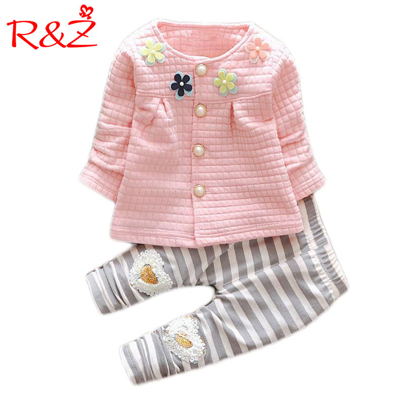 2017 New Baby Cothes Girls Flower Suit Cardigan + Pants 2pcs / set infant jacket  Kids clothes Striped Pants free shipping k1