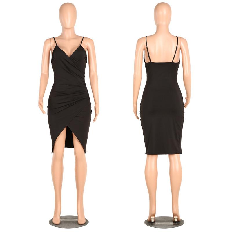 sexy deep v neck spaghetti strap dress-7