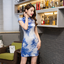 Shanghai Story 2018 New Sale Faux silk Qipao Dress traditional chinese clothing satin oriental dresses chinese qipao for Women