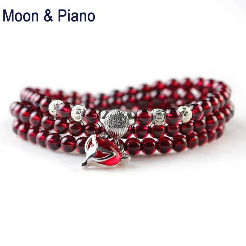 Bracelets en grenat naturel perle rouge avec pendentif renard 925 Bracelet en argent Sterling pour femmes fille bijoux multijoueur en cristal