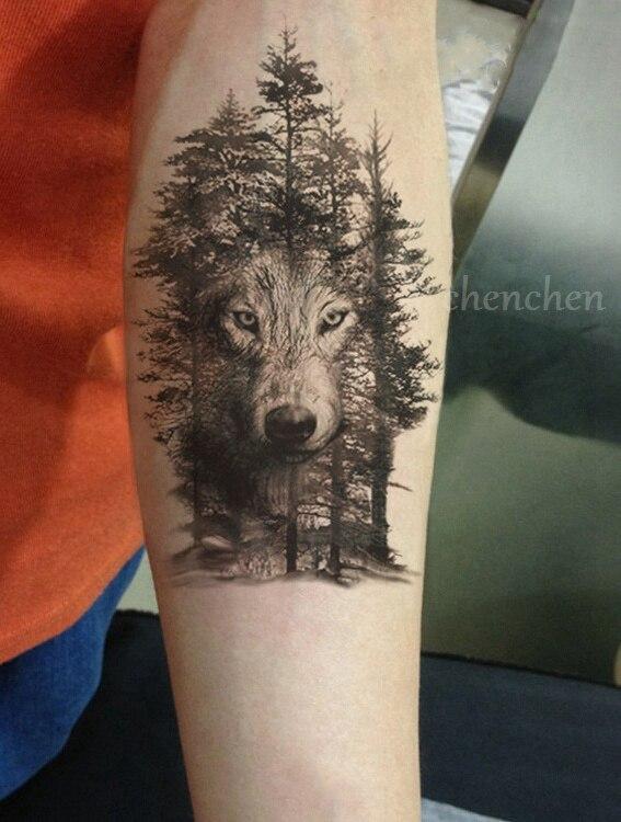 Dropwow Waterproof Temporary Tattoo Sticker Wolf Forest Animal Tree
