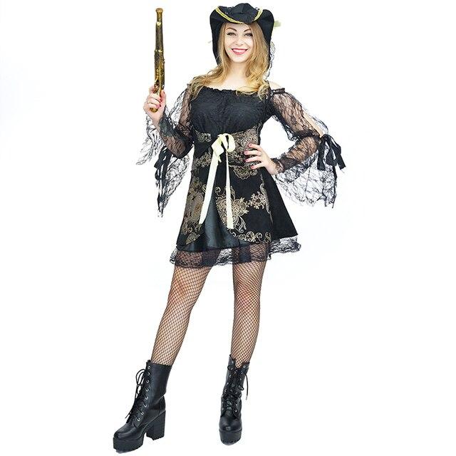 Sexy Pirate Costumes de Cosplay Femmes Fleur Dentelle Mâle Robe Renaissance  Carnaval Court Dame Robe Fantaisies