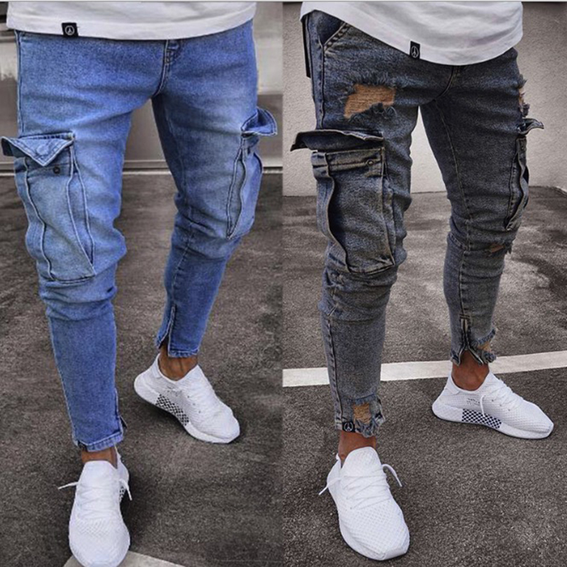 Men Denim Pants Ripped Hole Jeans Fashion Hip Hop Skinny Pencil Jeans For Men Stretch Patchwork Pocket Cargo Pants Jeans Men