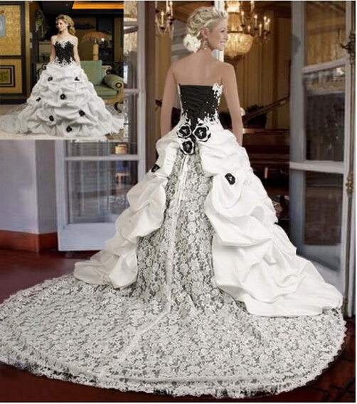 New arrival elegant long train strapless black and white for Strapless wedding dresses with long trains