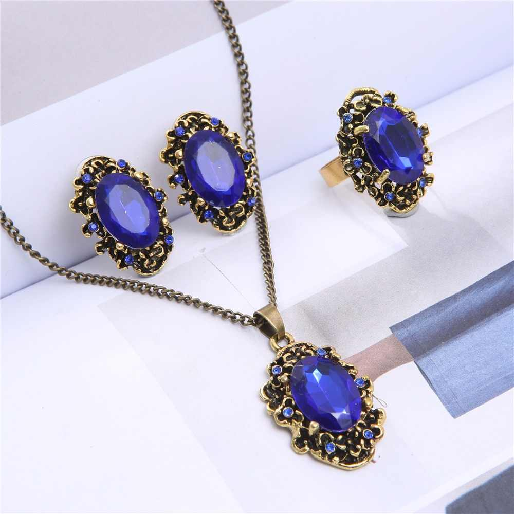 fashion aliexpress hot selling Royal blue green crystal jewelry set wedding bridal fashion Necklace Earrings ring 1105