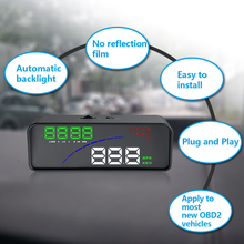 3.6in Head-up Display Car HUD Head Up Display OBD2 EUOBD Over Speed Warning Alarm Water Temp Voltage Alarm цена 2017