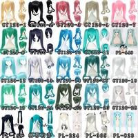 Vocaloid Hatsune Miku Wig Ponytails Black Rock Shooter Senbon Zakura Cosplay Wig Long Hair Blue Green Black Pink Silve + Wig Cap