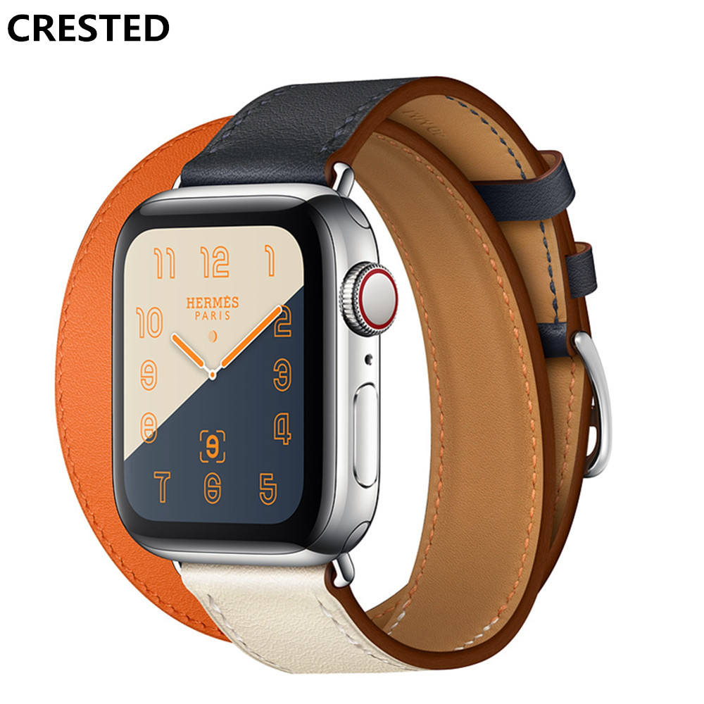 CRESTED double tour Leather strap For apple watch 4 band 40mm 44mm correa iwatch series 3 2 1 42mm 38mm wrist watchband belt for apple watch band 4 44mm 40mm leather strap correa 42mm 38mm bracelet wrist watchband iwatch series 4 3 2 1 replacement belt
